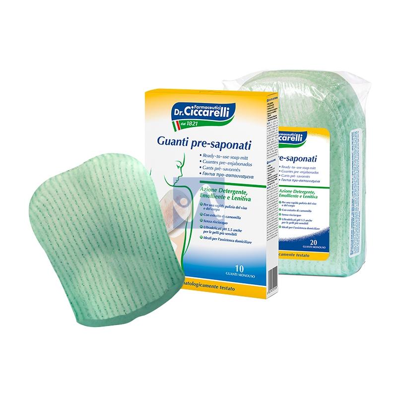 Dottor Ciccarelli Linea Igiene Corpo Guanti Pre-Saponati Detergenti 10 Pezzi