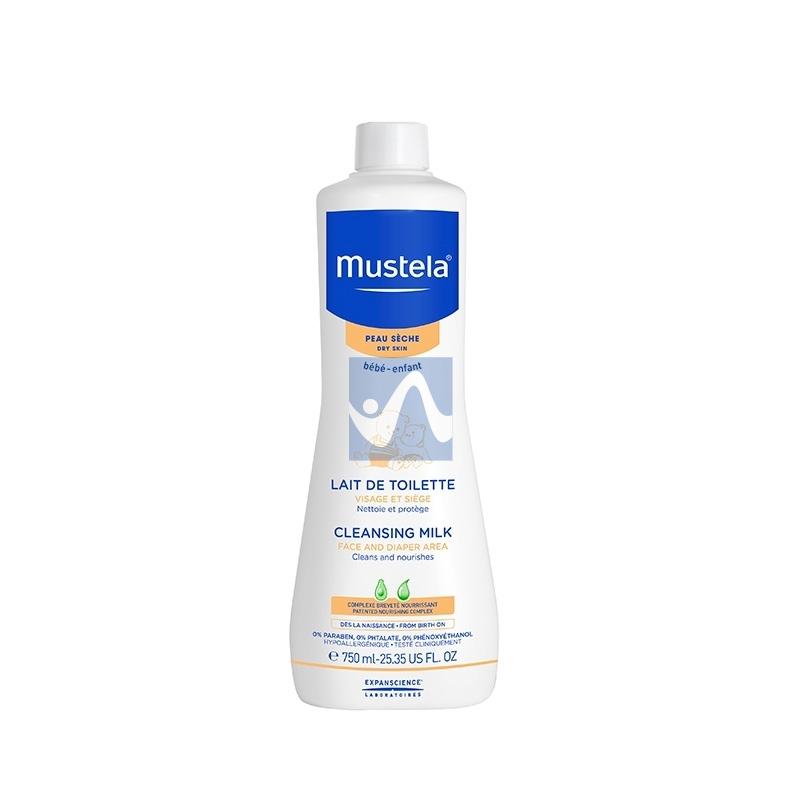 Mustela Linea Pelli Secche Latte di Toilette Detergente Viso Corpo 750 ml